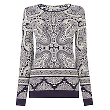 Buy Oasis Paisley Print Jersey Top, Navy/Multi Online at johnlewis.com