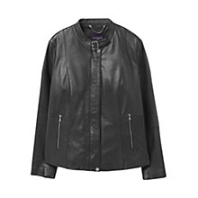 Buy Violeta by Mango Buckle Collar Leather Jacket, Black Online at johnlewis.com