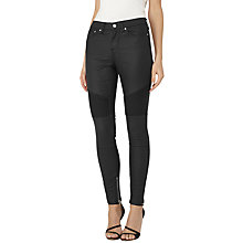 Buy Reiss Coated Biker Jeans, Black Online at johnlewis.com