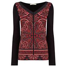 Buy Oasis Paisley Front Top, Red/Multi Online at johnlewis.com