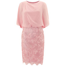 Buy Adrianna Papell Draped Blouson Dress With Lace Skirt, Blush Online at johnlewis.com