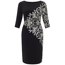 Buy Adrianna Papell Printed Bateaux Sheath Dress, Black/Ivory Online at johnlewis.com