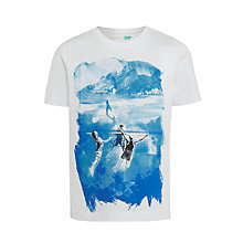 Buy John Lewis Boys' Beach Print T-Shirt, White Online at johnlewis.com
