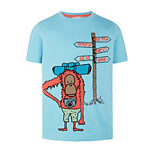 Buy John Lewis Boys' Festival Monkey T-Shirt, Blue Online at johnlewis.com