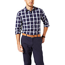 Buy Dockers Mathis Plaid Laundered Cotton Poplin Slim Fit Shirt, Medieval Blue Online at johnlewis.com