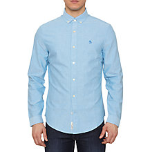 Buy Original Penguin Long Sleeve Oxford Shirt, Blue Online at johnlewis.com