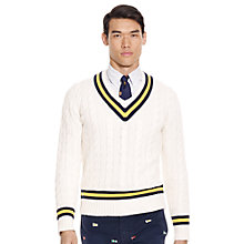 Buy Polo Ralph Lauren V-Neck Cricket Jumper, White/Navy Online at johnlewis.com
