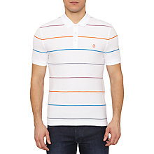 Buy Original Penguin Wanderer Stripe Polo Top, Bright White Online at johnlewis.com