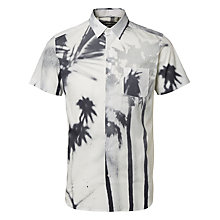 Buy Selected Homme Palm Print Short Sleeve Shirt, White Online at johnlewis.com