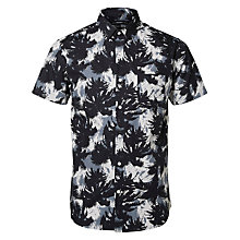Buy Selected Homme Allover Palm Print Short Sleeve Shirt, Black Online at johnlewis.com
