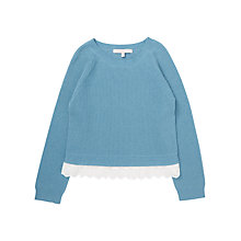 Buy Jigsaw Girls' Lace Trim Sweater, Blue Online at johnlewis.com