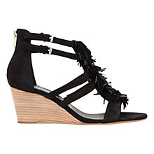 Buy Mint Velvet Iona Wedge Heeled Sandals, Black Suede Online at johnlewis.com