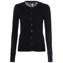 Buy French Connection Dainty Lace Button Through Cardigan, Black Online at johnlewis.com