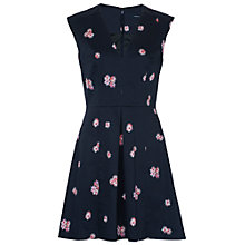 Buy French Connection Samba Daisy V Neck Dress, Utility Blue Online at johnlewis.com