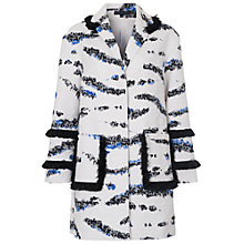 Buy French Connection Tapir Wave Fringe Coat, Summer White/Multi Online at johnlewis.com