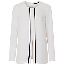 Buy French Connection Thomas Block Collarless Shirt, Summer White/Black Online at johnlewis.com