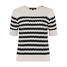 Buy French Connection Zipped Chevron Jumper, Summer White/Black Online at johnlewis.com