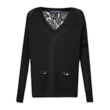 Buy French Connection Dainty Lace Knit Jumper, Black Online at johnlewis.com