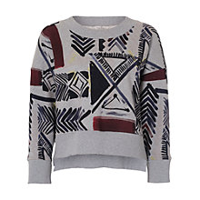 Buy French Connection Empire Grid Zipper Sweatshirt, Grey Mel Multi Online at johnlewis.com