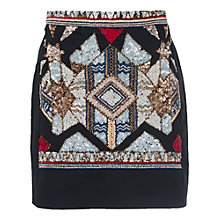 Buy French Connection Medina Jewel Mini Skirt, Black Multi Online at johnlewis.com