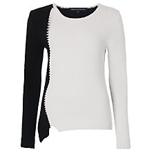 Buy French Connection Two Tone Asymmetric Jumper, Summer White/Black Online at johnlewis.com