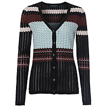 Buy French Connection Chevron Knit Cardigan, Black/Multi Online at johnlewis.com