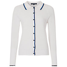 Buy French Connection Rocio Knitted Collared Cardigan, Summer White/Emperor Blue Online at johnlewis.com