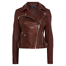 Buy Karen Millen Signature Biker Jacket, Aubergine Online at johnlewis.com