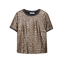 Buy Mango Sequin Embroidery Top, Gold Online at johnlewis.com