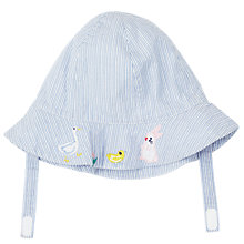 Buy John Lewis Baby Stripe Embroidered Hat, Blue/Multi Online at johnlewis.com