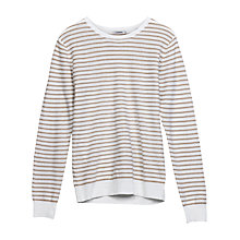 Buy J. Lindeberg Gordon Linen Blend Stripe Jumper, White Online at johnlewis.com