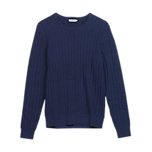 Buy J. Lindeberg Collino Cable Knit Cotton Jumper, Navy Online at johnlewis.com