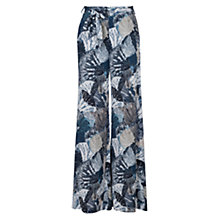 Buy French Connection Lala Palm Drape Flared Trousers, White/Multi Online at johnlewis.com