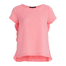 Buy French Connection Poly Plains Short Sleeve Top, Fizi Pink Online at johnlewis.com