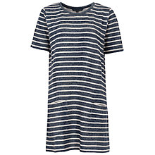 Buy French Connection Normandy Stripe T-Shirt Dress, Brule/Indigo Online at johnlewis.com