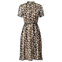 Buy BOSS Dalinga Printed Silk Dress, Black/Cream Online at johnlewis.com
