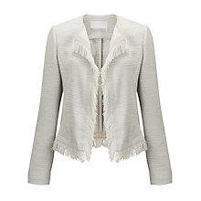 Buy BOSS Komina Textured Fringe Blazer, Pebble Online at johnlewis.com