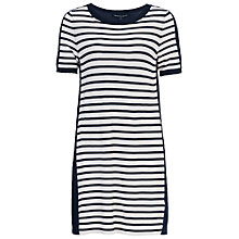 Buy French Connection Cass Striped Jumper Dress, Summer White/Nocturnal Online at johnlewis.com