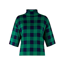 Buy Whistles Clark Gingham Funnel Jumper, Green Online at johnlewis.com