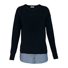 Buy Whistles Chambray Layered Shirt Jumper, Navy Online at johnlewis.com