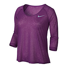 Buy Nike Dri-FIT Cool Breeze 3/4 Sleeve Running Top, Cosmic Purple Online at johnlewis.com