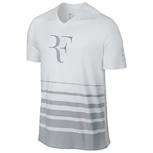 Buy Nike Tennis Roger Short Sleeve V-Neck T-Shirt, White/Wolf Grey Online at johnlewis.com