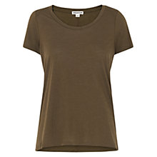 Buy Whistles Maye Seam Back T-Shirt, Khaki Online at johnlewis.com