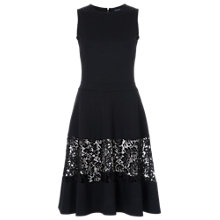 Buy French Connection Beau Lace Detail Dress, Black Online at johnlewis.com