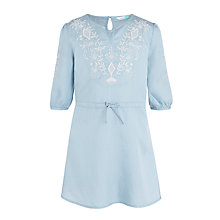 Buy John Lewis Girls' Embroidered Denim Dress, Light Blue Online at johnlewis.com