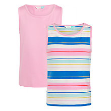 Buy John Lewis Girls' Stripe Vest Top, Pack of 2, Pink/Blue Online at johnlewis.com