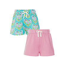 Buy John Lewis Girls' Multi Heart Print Shorts, Pack of 2, Green/Pink Online at johnlewis.com