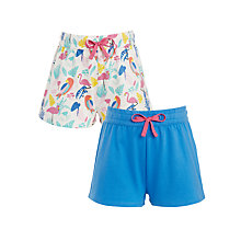 Buy John Lewis Girls' Flamingo Shorts, Pack of 2, Pink/Blue Online at johnlewis.com