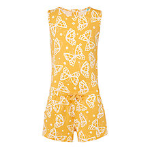 Buy John Lewis Girls' Butterfly Print Playsuit, Yellow Online at johnlewis.com