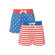 Buy John Lewis Girls' Spot Stripe Shorts, Pack of 2, Blue/Coral Online at johnlewis.com